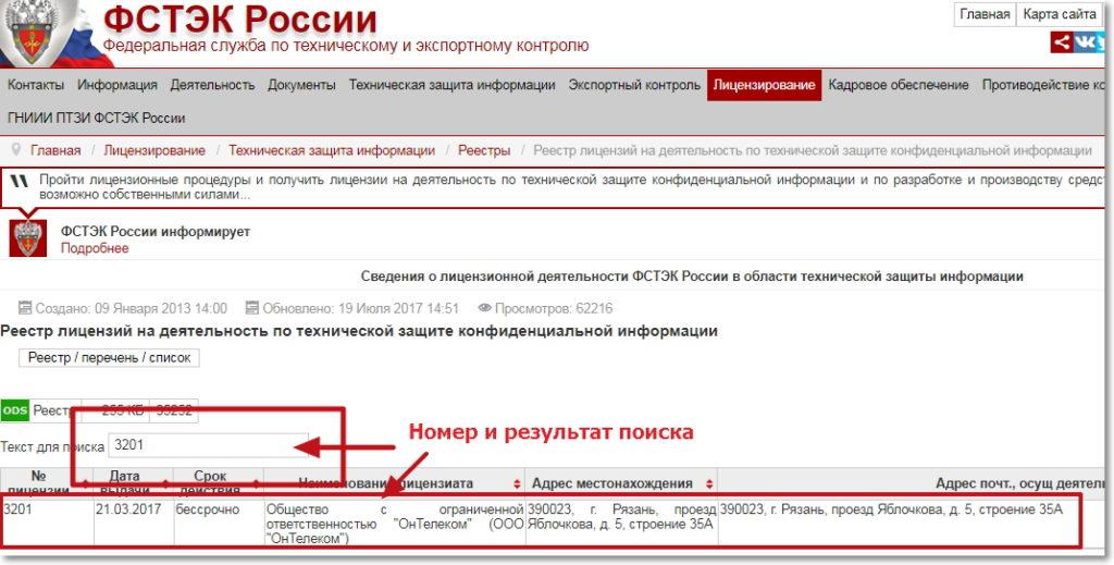 реестр лицензиатов ФСТЭК